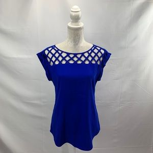 Blue Caged Lattice Neckline Cuffed Sleeves Blouse